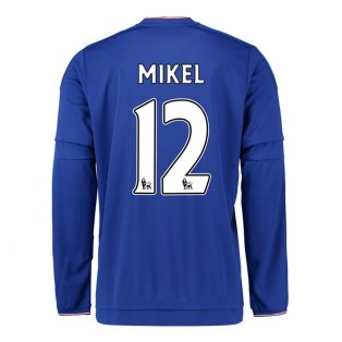2015-2016 Chelsea Home Long Sleeve Shirt (Mikel 12)