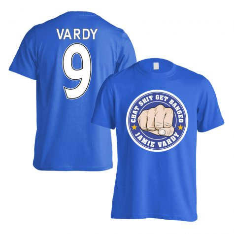 Leicester Vardy Chat Get Banged Logo T-Shirt (Vardy 9) Blue - Kids