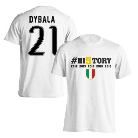 Juventus History Winners T-Shirt (Dybala 21) White - Kids
