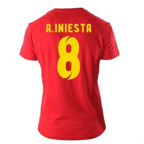 Andres Iniesta Visca El Barca Hero T-Shirt (Red)