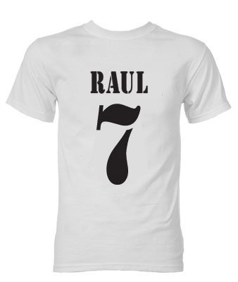 Raul Real Madrid Retro Style T-Shirt (White)