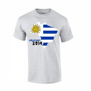 Uruguay 2014 Country Flag T-shirt (grey)