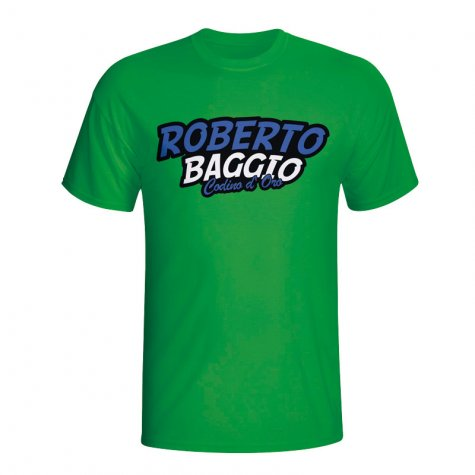 Roberto Baggio Comic Book T-shirt (green)