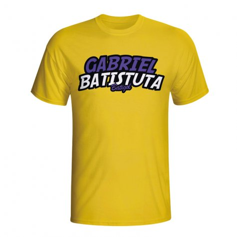 Gabriel Batistuta Comic Book T-shirt (yellow)