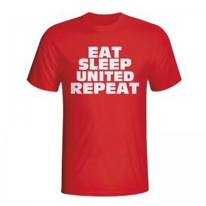 Eat Sleep Man Utd Repeat T-shirt (red) - Kids