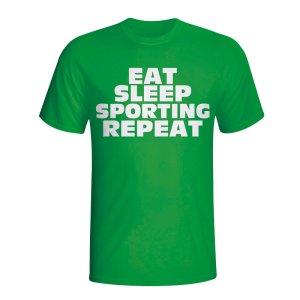 Eat Sleep Sporting Lisbon Repeat T-shirt (green)