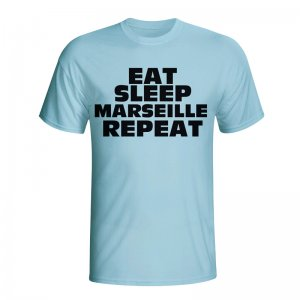 Eat Sleep Marseille Repeat T-shirt (sky Blue) - Kids