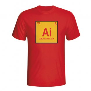 Andres Iniesta Spain Periodic Table T-shirt (red)