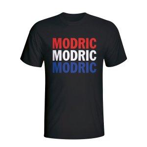 Luka Modric Croatia Player Flag T-shirt (black)