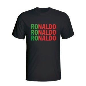 Cristiano Ronaldo Portugal Player Flag T-shirt (black)