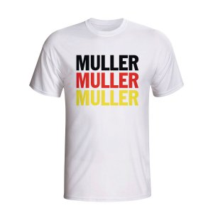 Thomas Muller Germany Player Flag T-shirt (white) - Kids