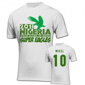 2013 Nigeria CAF Winners T-Shirt (White) - Mikel 10