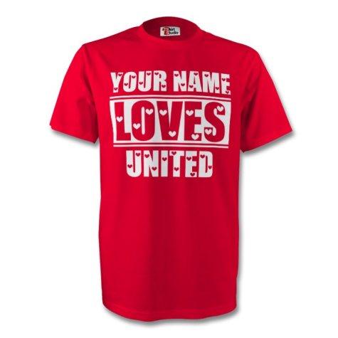 Your Name Loves Man Utd T-shirt (red) - Kids