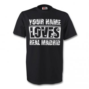 Your Name Loves Real Madrid T-shirt (black) - Kids