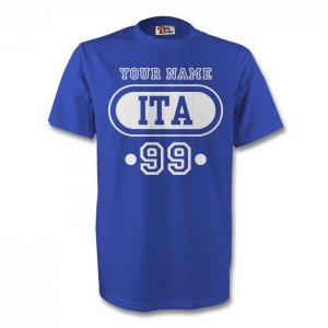 Italy Ita T-shirt (blue) + Your Name (kids)