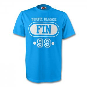 Finland Fin T-shirt (sky Blue) + Your Name (kids)