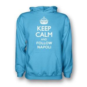 Keep Calm And Follow Napoli Hoody (sky Blue) - Kids