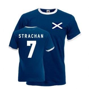 Gordon Strachan Scotland Ringer Tee (navy)