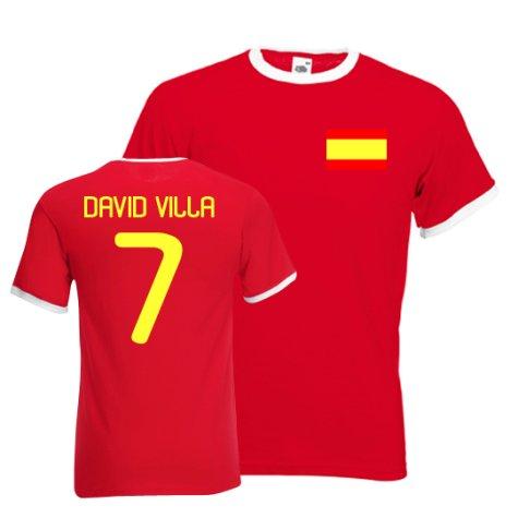 David Villa Spain Ringer Tee (red)