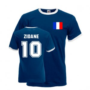 Zinedine Zidane France Ringer Tee (dark Blue)