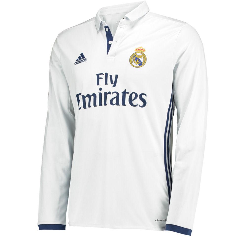 44c5ce5578d 2016-2017 Real Madrid Adidas Home Long Sleeve Shirt (Kids)  AI5190  -  Uksoccershop