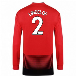 2018-2019 Man Utd Adidas Home Long Sleeve Shirt (Lindelof 2) - Kids