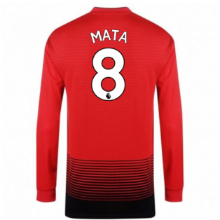 2018-2019 Man Utd Adidas Home Long Sleeve Shirt (Mata 8) - Kids