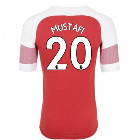 2018-2019 Arsenal Puma Home Football Shirt (Mustafi 20) - Kids