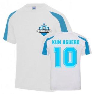 Sergio Aguero Man City Sports Training Jersey (White-Sky Blue)