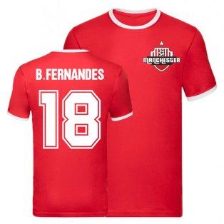Bruno Fernandes Manchester United Ringer Tee (Red)