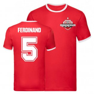 Rio Ferdinand Manchester United Ringer Tee (Red)