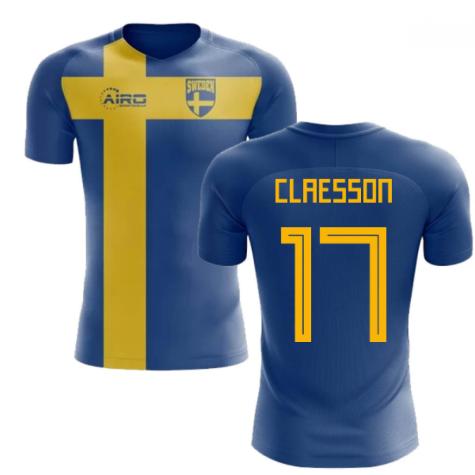2018-2019 Sweden Flag Concept Football Shirt (Claesson 17) - Kids
