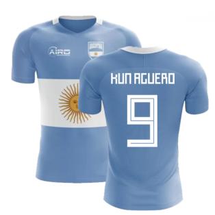 2018-2019 Argentina Flag Concept Football Shirt (Kun Aguero 9) - Kids