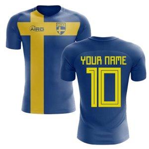 2018-2019 Sweden Flag Concept Football Shirt (Your Name) -Kids