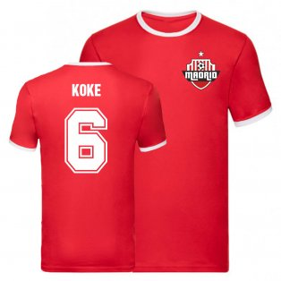 Koke Atletico Madrid Ringer Tee (Red)