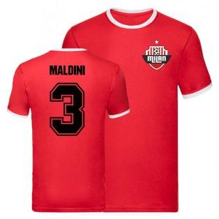 Paolo Maldini AC Milan Ringer Tee (Red)