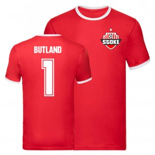 Jack Butland Stoke City Liverpool Ringer Tee (Red)