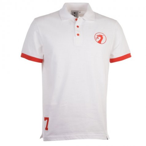 Liverpool Number 7 Retro White Polo Shirt