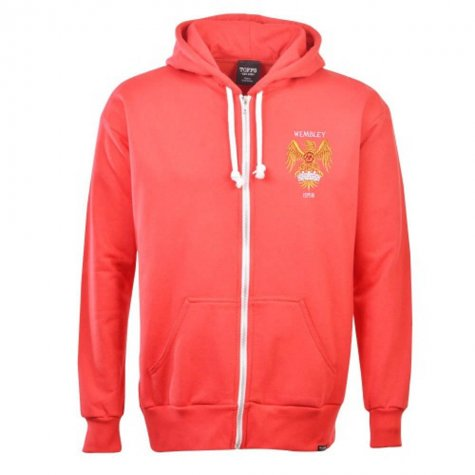 Manchester United 1970s Style Retro Zipped Hoodie