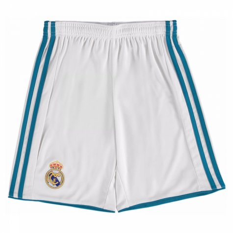 2017-2018 Real Madrid Adidas Home Shorts (White) - Kids