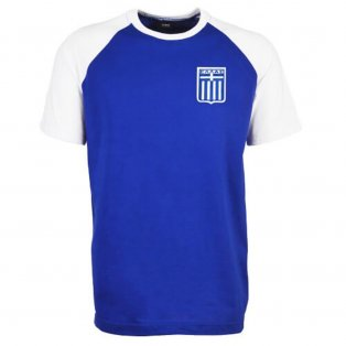 Greece Raglan Sleeve Royal/White Retro T-Shirt