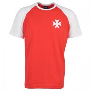 Malta Raglan Sleeve Red/White Retro T-Shirt