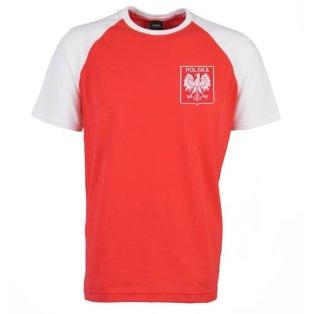 Poland Raglan Sleeve Red/White Retro T-Shirt