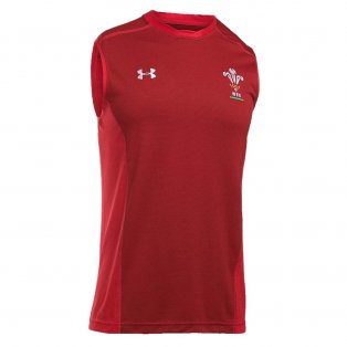 2018-2019 Wales Rugby WRU Sleeveless Training Tee (Red)