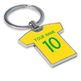 Personalised Brazil Football Shirt Key Ring