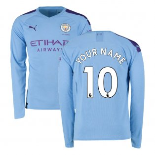 2019-2020 Manchester City Puma Home Long Sleeve Shirt (Your Name)