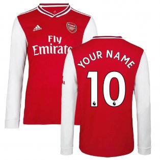 2019-2020 Arsenal Adidas Home Long Sleeve Shirt (Kids) (Your Name)