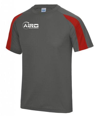 Airo Sportswear Contrast Training Tee (Charcoal-Red)