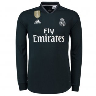 3009049fd40 2018-2019 Real Madrid Adidas Authentic Away Long Sleeve Shirt