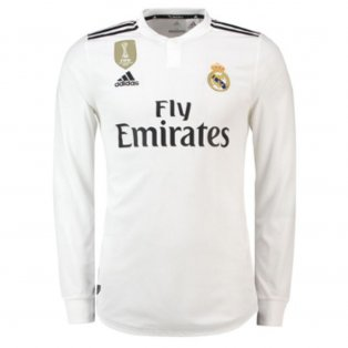 2018-2019 Real Madrid Adidas Authentic Home Long Sleeve Shirt ef1c3b0c5